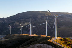 Wind farm on the mountain Royalty Free Stock Photography