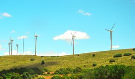Wind farm in a mountainous area in Spain stock image
