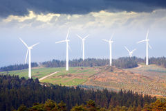Wind farm at mountains Royalty Free Stock Photo
