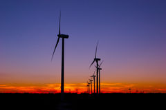 Wind Farm night sky Stock Photo