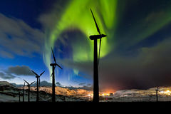 Wind Farm And Northern Lights Aurora Borealis Canada Royalty Free Stock Photos