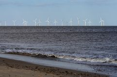 Wind farm off coast Royalty Free Stock Photography