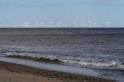 Wind farm off coast. Wind turbines off Norfolk coast royalty free stock photography