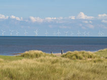 Wind Farm off the coast Stock Photo