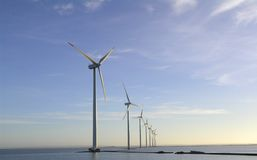 Wind farm offshore royalty free stock photos