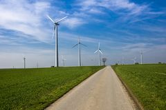 Wind farm  at Paderborn, North Rhine-Westphalia, Germany, Europe Royalty Free Stock Photography