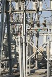 Wind farm power transformers Stock Photos