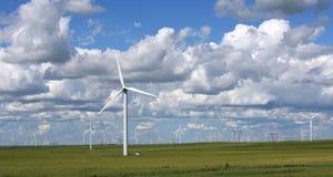 Wind farm. On the prairie under white cloud Stock Photos