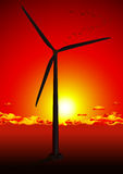 Wind farm in red sunset Stock Photo