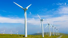 Wind turbines - Renewable Energy. Onshore wind farm with wind turbines producing wind energyin the Northern part of Galicia, Spain stock photo