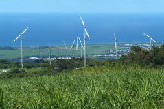 Wind farm at Reunion island Stock Photo