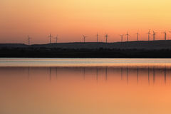 Wind farm at Salt lake in Larnaca, Cyprus Stock Photo