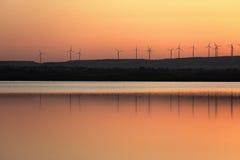 Wind farm at Salt lake in Larnaca, Cyprus Stock Photo