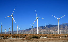 Wind farm. Scenic view of of wind power farm in Desert Palm Springs, California, U.S.A stock photography