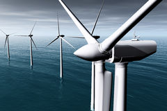 Wind Farm in the Sea 3D render Stock Photography
