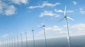 Wind farm in the sea Royalty Free Stock Photo