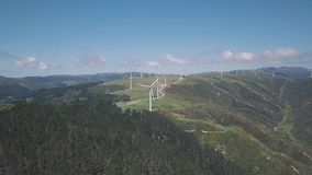 Wind Farm On Seaside Cliff, 4k Aerial Footage. Clean green energy generations, 4k aerial footage on cliff lines stock video
