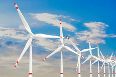 Wind farm, set of wind turbines. 3D Royalty Free Stock Photos