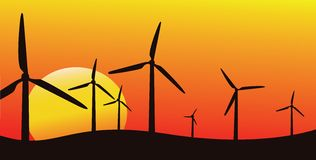 Wind farm silhouette Royalty Free Stock Image