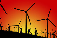 Wind Farm (Silhouettes) Stock Photo