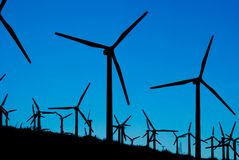 Wind Farm (Silhouettes) Royalty Free Stock Image