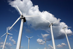 Wind farm with sky and clouds. Wind power plants with sky and clouds in the background Vector Illustration