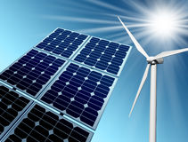 Wind farm and solar panel Royalty Free Stock Photography