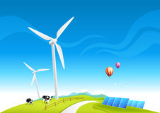 Wind Farm and Solar Panels Royalty Free Stock Image