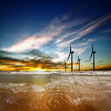 Wind farm at sunrise royalty free stock images