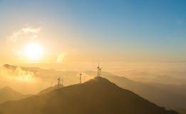 Wind farm in sunrise Stock Photo
