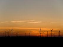 Wind farm at sunset Royalty Free Stock Photography