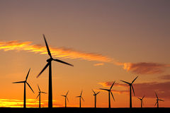 Wind farm at sunset royalty free stock photos