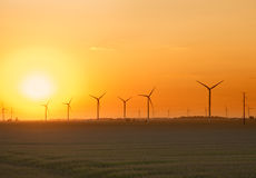 Wind Farm Sunset. View of an Indiana wind farm at sunset Royalty Free Stock Images