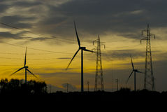 Wind farm in the sunset. Some wind electrogenerator in the sunset Royalty Free Stock Photo