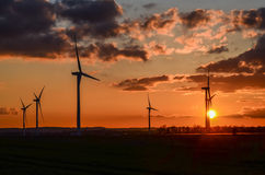Wind farm. Wind turbine at Gayton,Lincolnshire at sunset Royalty Free Stock Photography