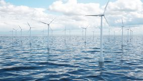 Wind farm turbines caught in sunlight sky. Beautiful contrast with the blue sea. ecological concept, 3d illustration. Wind farm turbines caught in sunlight sky royalty free stock photo