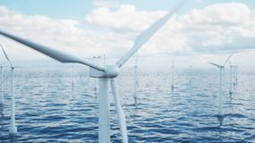 Wind farm turbines caught in sunlight sky. Beautiful contrast with the blue sea. ecological concept, 3d illustration. Wind farm turbines caught in sunlight sky stock photography