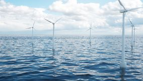 Wind farm turbines caught in sunlight sky. Beautiful contrast with the blue sea. ecological concept, 3d illustration. Wind farm turbines caught in sunlight sky royalty free stock photos