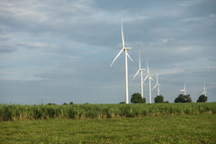 Wind farm. Wind turbines generating electricity. energy conservation concept stock photo