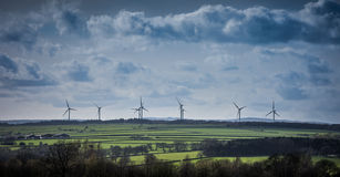 Wind Farm Turbines on Horizon Yorkshire England Royalty Free Stock Images