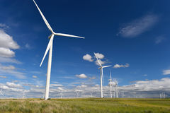 Wind farm turbines white on hill contrast green grass and blue sky, wa Royalty Free Stock Image