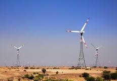 Wind farm - turning windmills in India Stock Image