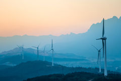 Wind farm in twilight Royalty Free Stock Photos