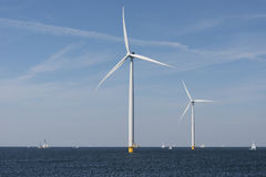 Wind farm in the water. Off the coast of the noordoostpolder in the Netherlands stock photography