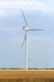 A wind farm in the wide spread field Royalty Free Stock Photos
