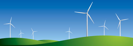 Wind farm, wind turbines Stock Photo