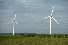 Wind farm. Wind turbines generating electricity. energy conservation concept royalty free stock photos