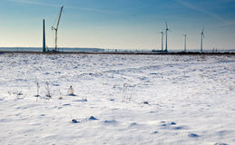 Wind farm in winter Stock Photos