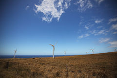 Wind farms along the North shore coastline of the big island of Royalty Free Stock Photography