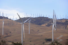 Wind farms in the desert Royalty Free Stock Photos